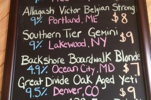 chalkboard of draft beers