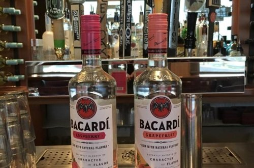 two bacardi bottles